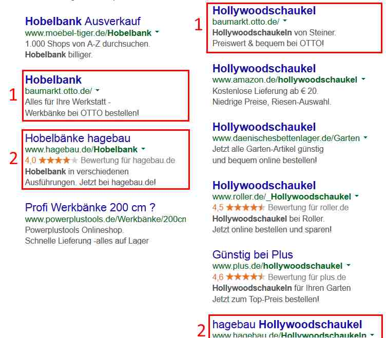 Google Anzeige für zwei Baumarktbegriffe