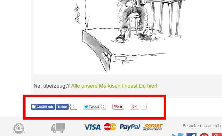 """Liken und Teilen von einer Kategorie mit dem Thema """"Markisen""""."""