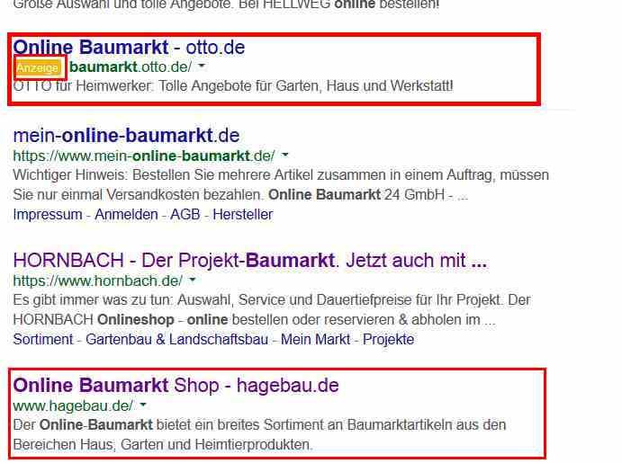 """Auszug aus den Google Suchergebnissen. Gesuchter Begriff lautet """"Online Baumarkt"""""""