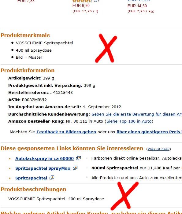 Spritzspachtel-Amazon-Informationen-Fehlen