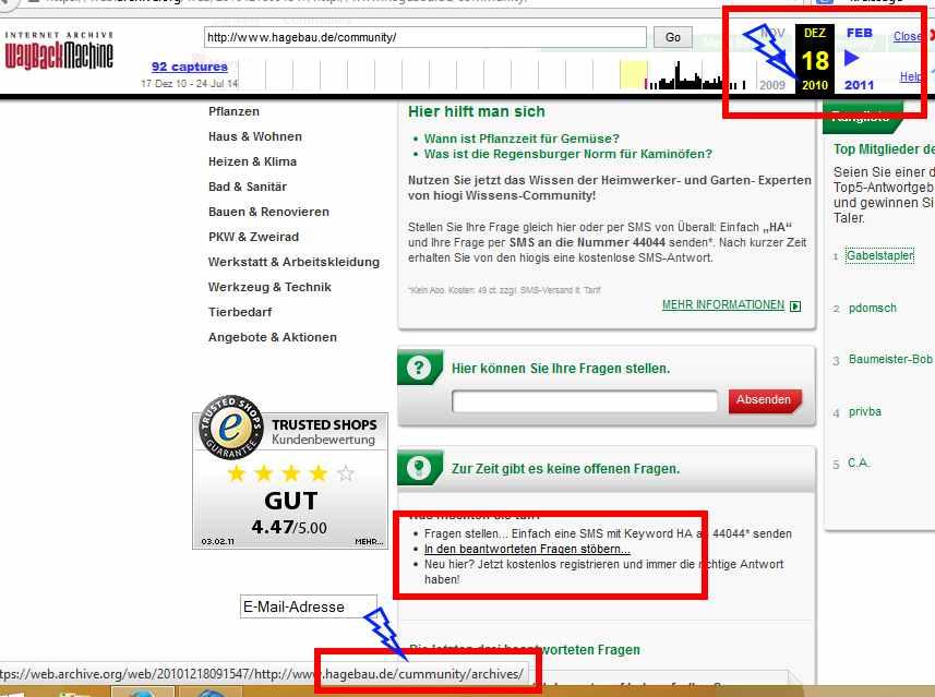 Bild 2/2 - Tippfehler im Link zur Baumarkt-Community
