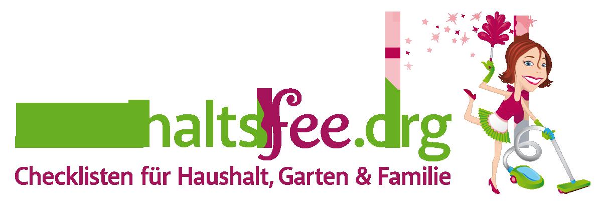 Logo der Internetseite Haushaltsfee.org. Schriftzug ist Zweifarbig. Comicfigur mit Staubsauger und Staubwedel.